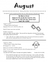 Parent Sheet for August