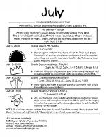 Parent Sheet for July