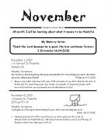 Parent Sheet for November