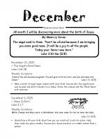 Parent Sheet for December
